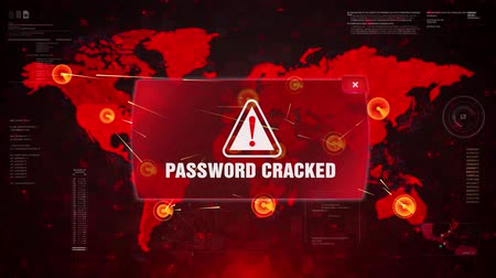 anti : Password Cracked Alert Warning Message Attack on World map. Wire frame Radar Network Seamless loop Motion Background. UI Elements HUD Sci Fi interface.
