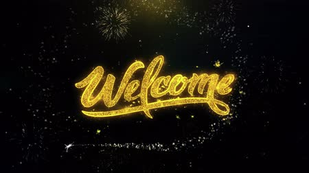 Войти : Welcome Written Gold Glitter Particles Spark Exploding Fireworks Display 4K . Greeting card, Celebration, Party Invitation, calendar, Gift, Events, Message, Holiday, Wishes Festival