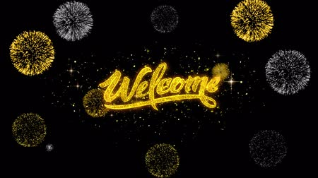 Войти : Welcome Golden Greeting Text Appearance Blinking Particles with Golden Fireworks Display 4K for Greeting card, Celebration, Invitation, calendar, Gift, Events, Message, Holiday, Wishes .