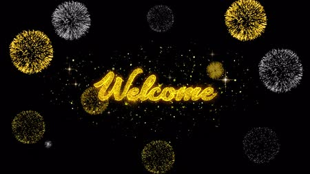 pozvat : Welcome Golden Greeting Text Appearance Blinking Particles with Golden Fireworks Display 4K for Greeting card, Celebration, Invitation, calendar, Gift, Events, Message, Holiday, Wishes . 1 Dostupné videozáznamy