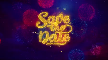дата : Save the Date Greeting Text with Particles and Sparks Colored Bokeh Fireworks Display 4K. for Greeting card, Celebration, Party Invitation, calendar, Gift, Events, Message, Holiday, Wishes . Стоковые видеозаписи