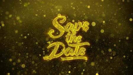 kaligrafia : Save the Date Greetings card Abstract Blinking Golden Sparkles Glitter Firework Particle Looped Background. Gift, card, Invitation, Celebration, Events, Message, Holiday, Festival. 2 Wideo