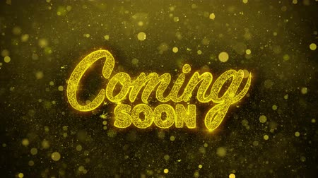 лозунг : Coming Soon Greetings card Abstract Blinking Golden Sparkles Glitter Firework Particle Looped Background. Gift, card, Invitation, Celebration, Events, Message, Holiday, Festival.