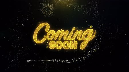 для продажи : Coming Soon Written Gold Glitter Particles Spark Exploding Fireworks Display 4K . Greeting card, Celebration, Party Invitation, calendar, Gift, Events, Message, Holiday, Wishes Festival .