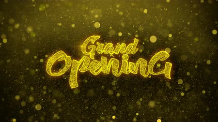soon : Grand Opening Greetings card Abstract Blinking Golden Sparkles Glitter Firework Particle Looped Background. Gift, card, Invitation, Celebration, Events, Message, Holiday, Festival. Stock Footage