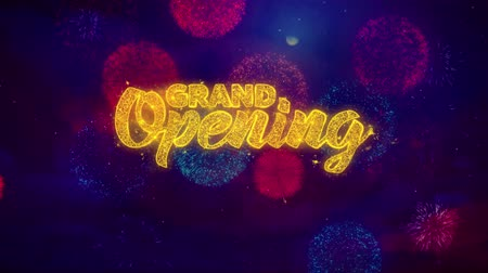 soon : Grand Opening Greeting Text with Particles and Sparks Colored Bokeh Fireworks Display 4K. for Greeting card, Celebration, Party Invitation, calendar, Gift, Events, Message, Holiday, Wishes . 1