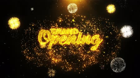 jelenleg : Grand Opening Text Sparks Particles Reveal from Golden Firework Display explosion 4K. Greeting card, Celebration, Party Invitation, calendar, Gift, Events, Message, Holiday, Wishes Festival 1 Stock mozgókép