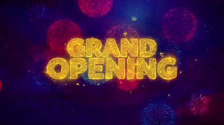 soon : Grand Opening Greeting Text with Particles and Sparks Colored Bokeh Fireworks Display 4K. for Greeting card, Celebration, Party Invitation, calendar, Gift, Events, Message, Holiday, Wishes . 3