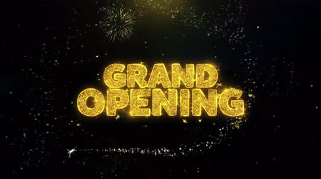 beginnings : Grand Opening Written Gold Glitter Particles Spark Exploding Fireworks Display 4K . Greeting card, Celebration, Party Invitation, calendar, Gift, Events, Message, Holiday, Wishes Festival . 3 Stock Footage