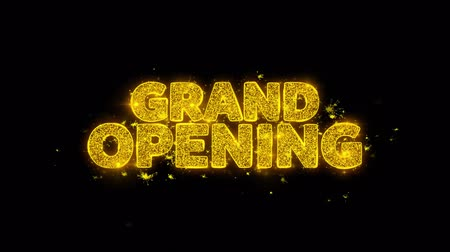 jelenleg : Grand Opening Typography Written with Golden Particles Sparks Fireworks Display 4K. Greeting card, Celebration, Party Invitation, calendar, Gift, Events, Message, Holiday, Wishes Festival 3