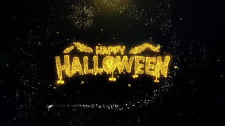 полый : Happy Halloween Written Gold Glitter Particles Spark Exploding Fireworks Display 4K . Greeting card, Celebration, Party Invitation, calendar, Gift, Events, Message, Holiday, Wishes Festival .