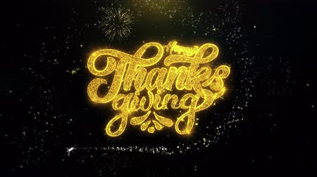 ação de graças : Happy Thanksgiving Written Gold Glitter Particles Spark Exploding Fireworks Display 4K . Greeting card, Celebration, Party Invitation, calendar, Gift, Events, Message, Holiday, Wishes Festival . Stock Footage