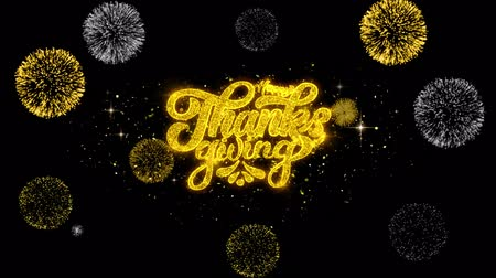 ação de graças : Happy Thanksgiving Golden Greeting Text Appearance Blinking Particles with Golden Fireworks Display 4K for Greeting card, Celebration, Invitation, calendar, Gift, Events, Message, Holiday, Wishes .