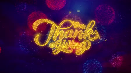 agradecimiento : Thanksgiving Greeting Text with Particles and Sparks Colored Bokeh Fireworks Display 4K. for Greeting card, Celebration, Party Invitation, calendar, Gift, Events, Message, Holiday, Wishes . Archivo de Video