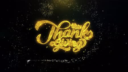 orange : Thanksgiving Written Gold Glitter Particles Spark Exploding Fireworks Display 4K . Greeting card, Celebration, Party Invitation, calendar, Gift, Events, Message, Holiday, Wishes Festival