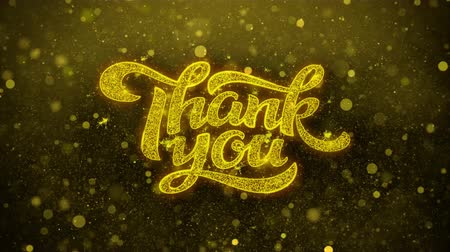 ação de graças : Thank You Greetings card Abstract Blinking Golden Sparkles Glitter Firework Particle Looped Background. Gift, card, Invitation, Celebration, Events, Message, Holiday, Festival.