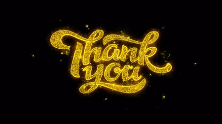kaligrafia : Thank You Typography Written with Golden Particles Sparks Fireworks Display 4K. Greeting card, Celebration, Party Invitation, calendar, Gift, Events, Message, Holiday, Wishes Festival .