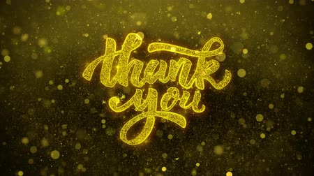 ação de graças : Thank You Greetings card Abstract Blinking Golden Sparkles Glitter Firework Particle Looped Background. Gift, card, Invitation, Celebration, Events, Message, Holiday, Festival. 1 Stock Footage