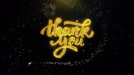 calligraphic : Thank You Written Gold Glitter Particles Spark Exploding Fireworks Display 4K . Greeting card, Celebration, Party Invitation, calendar, Gift, Events, Message, Holiday, Wishes Festival .
