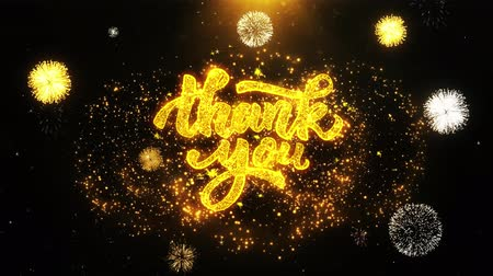 ação de graças : Thank You Text Sparks Particles Reveal from Golden Firework Display explosion 4K. Greeting card, Celebration, Party Invitation, calendar, Gift, Events, Message, Holiday, Wishes Festival . Stock Footage
