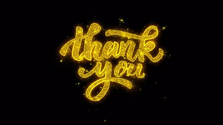 slova : Thank You Typography Written with Golden Particles Sparks Fireworks Display 4K. Greeting card, Celebration, Party Invitation, calendar, Gift, Events, Message, Holiday, Wishes Festival .