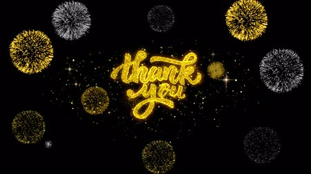 calligraphic : Thank You Golden Greeting Text Appearance Blinking Particles with Golden Fireworks Display 4K for Greeting card, Celebration, Invitation, calendar, Gift, Events, Message, Holiday, Wishes .