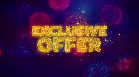 známka : Exclusive Offer Greeting Text with Particles and Sparks Colored Bokeh Fireworks Display 4K. for Greeting card, Celebration, Party Invitation, calendar, Gift, Events, Message, Holiday, Wishes .