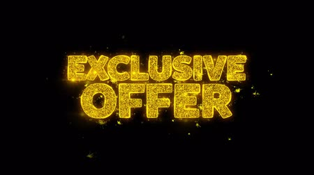 ограничен : Exclusive Offer Typography Written with Golden Particles Sparks Fireworks Display 4K. Greeting card, Celebration, Party Invitation, calendar, Gift, Events, Message, Holiday, Wishes Festival Стоковые видеозаписи