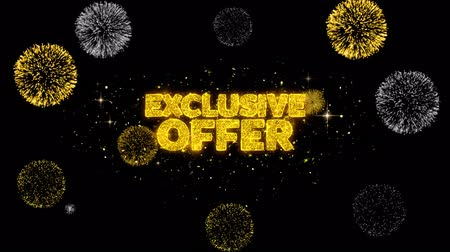 ограничен : Exclusive Offer Golden Greeting Text Appearance Blinking Particles with Golden Fireworks Display 4K for Greeting card, Celebration, Invitation, calendar, Gift, Events, Message, Holiday, Wishes . Стоковые видеозаписи