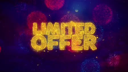 promover : Limited Offer Greeting Text with Particles and Sparks Colored Bokeh Fireworks Display 4K. for Greeting card, Celebration, Party Invitation, calendar, Gift, Events, Message, Holiday, Wishes .