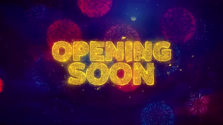 Войти : Opening Soon Greeting Text with Particles and Sparks Colored Bokeh Fireworks Display 4K. for Greeting card, Celebration, Party Invitation, calendar, Gift, Events, Message, Holiday, Wishes . Стоковые видеозаписи