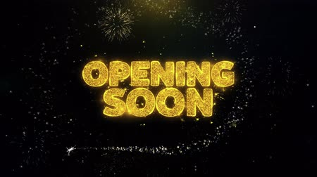 tebliğ : Opening Soon Written Gold Glitter Particles Spark Exploding Fireworks Display 4K . Greeting card, Celebration, Party Invitation, calendar, Gift, Events, Message, Holiday, Wishes Festival .