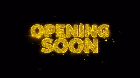 Войти : Opening Soon Typography Written with Golden Particles Sparks Fireworks Display 4K. Greeting card, Celebration, Party Invitation, calendar, Gift, Events, Message, Holiday, Wishes Festival . Стоковые видеозаписи