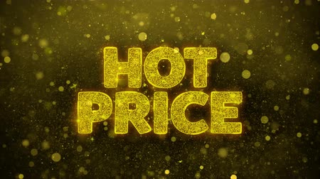 vypořádat se : Hot Price Greetings card Abstract Blinking Golden Sparkles Glitter Firework Particle Looped Background. Gift, card, Invitation, Celebration, Events, Message, Holiday, Festival.