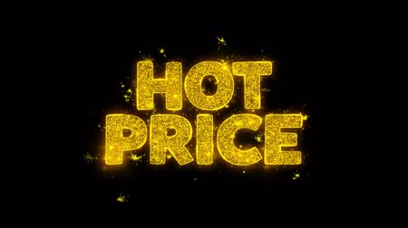 vypořádat se : Hot Price Typography Written with Golden Particles Sparks Fireworks Display 4K. Greeting card, Celebration, Party Invitation, calendar, Gift, Events, Message, Holiday, Wishes Festival .