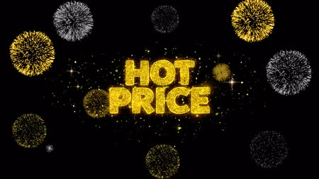 huge sale : Hot Price Golden Greeting Text Appearance Blinking Particles with Golden Fireworks Display 4K for Greeting card, Celebration, Invitation, calendar, Gift, Events, Message, Holiday, Wishes . Stock Footage