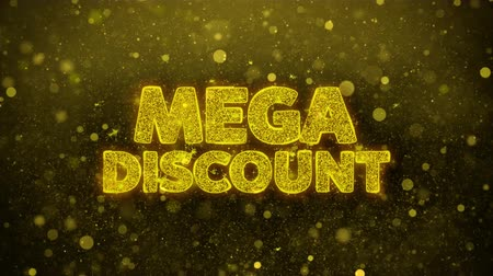 obniżka : Mega Discount Greetings card Abstract Blinking Golden Sparkles Glitter Firework Particle Looped Background. Gift, card, Invitation, Celebration, Events, Message, Holiday, Festival.