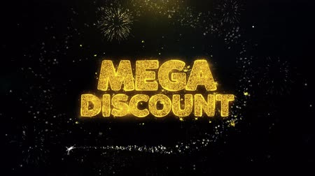 végső : Mega Discount Written Gold Glitter Particles Spark Exploding Fireworks Display 4K . Greeting card, Celebration, Party Invitation, calendar, Gift, Events, Message, Holiday, Wishes Festival . Stock mozgókép