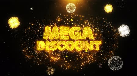 çıkartmalar : Mega Discount Text Sparks Particles Reveal from Golden Firework Display explosion 4K. Greeting card, Celebration, Party Invitation, calendar, Gift, Events, Message, Holiday, Wishes Festival .