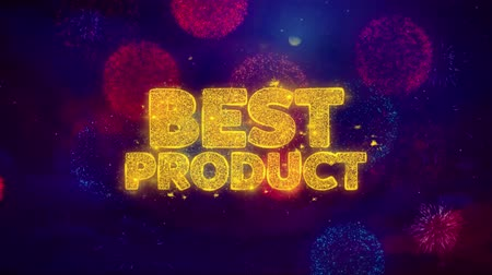 promocional : Best Product Greeting Text with Particles and Sparks Colored Bokeh Fireworks Display 4K. for Greeting card, Celebration, Party Invitation, calendar, Gift, Events, Message, Holiday, Wishes .