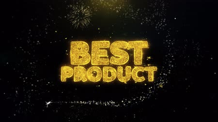 compromisso : Best Product Written Gold Glitter Particles Spark Exploding Fireworks Display 4K . Greeting card, Celebration, Party Invitation, calendar, Gift, Events, Message, Holiday, Wishes Festival . Vídeos