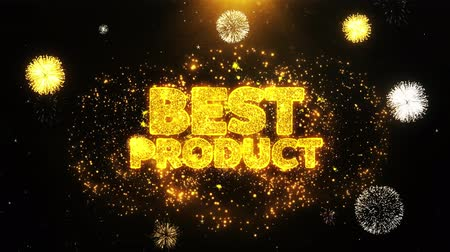 promocional : Best Product Text Sparks Particles Reveal from Golden Firework Display explosion 4K. Greeting card, Celebration, Party Invitation, calendar, Gift, Events, Message, Holiday, Wishes Festival . Vídeos