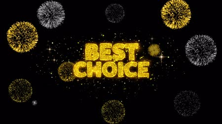 medaille : Best Choice Golden Greeting Text Appearance Blinking Particles with Golden Fireworks Display 4K for Greeting card, Celebration, Invitation, calendar, Gift, Events, Message, Holiday, Wishes .