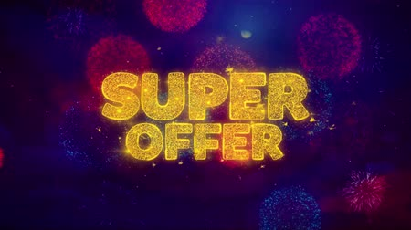 cupom : Super Offer Greeting Text with Particles and Sparks Colored Bokeh Fireworks Display 4K. for Greeting card, Celebration, Party Invitation, calendar, Gift, Events, Message, Holiday, Wishes .