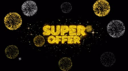 hoje : Super Offer Golden Greeting Text Appearance Blinking Particles with Golden Fireworks Display 4K for Greeting card, Celebration, Invitation, calendar, Gift, Events, Message, Holiday, Wishes .