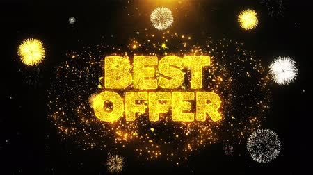 cupom : Best Offer Text Sparks Particles Reveal from Golden Firework Display explosion 4K. Greeting card, Celebration, Party Invitation, calendar, Gift, Events, Message, Holiday, Wishes Festival .