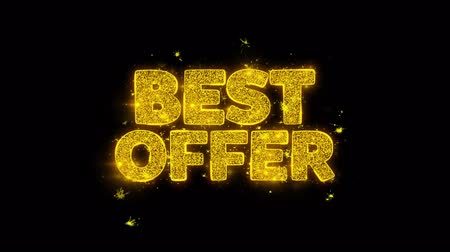 satmak : Best Offer Typography Written with Golden Particles Sparks Fireworks Display 4K. Greeting card, Celebration, Party Invitation, calendar, Gift, Events, Message, Holiday, Wishes Festival .