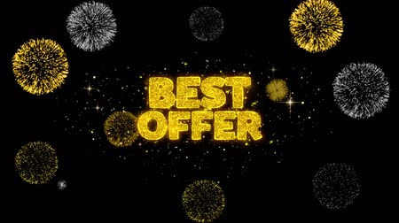 cupom : Best Offer Golden Greeting Text Appearance Blinking Particles with Golden Fireworks Display 4K for Greeting card, Celebration, Invitation, calendar, Gift, Events, Message, Holiday, Wishes .