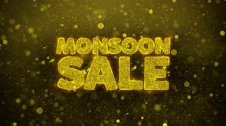 monszun : Monsoon Sale Greetings card Abstract Blinking Golden Sparkles Glitter Firework Particle Looped Background. Gift, card, Invitation, Celebration, Events, Message, Holiday, Festival. Stock mozgókép