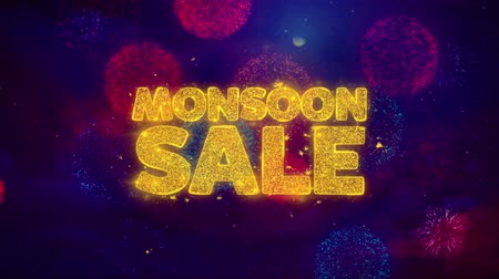 monszun : Monsoon Sale Greeting Text with Particles and Sparks Colored Bokeh Fireworks Display 4K. for Greeting card, Celebration, Party Invitation, calendar, Gift, Events, Message, Holiday, Wishes . Stock mozgókép